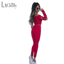 Black Women's Yoga set clothes fashionLong Sleeve Crop Top Ribbed Cutout Pant Set Two Pieces with long Pant Sets 62014