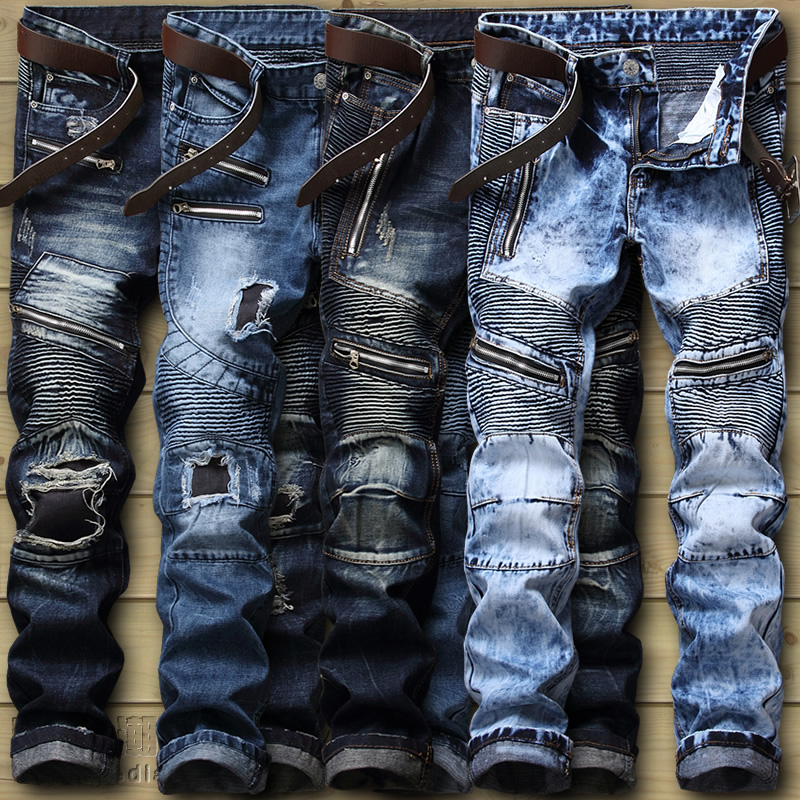 Dropshipping  Biker Jeans Men's Distressed Stretch Ripped Biker Jeans Men Hip Hop Slim Fit Holes Punk Denim Jeans Cotton Pants new arrival men jeans hollow out ripped distressed jeans man denim blue stretch slim fit hip hop fashion casual