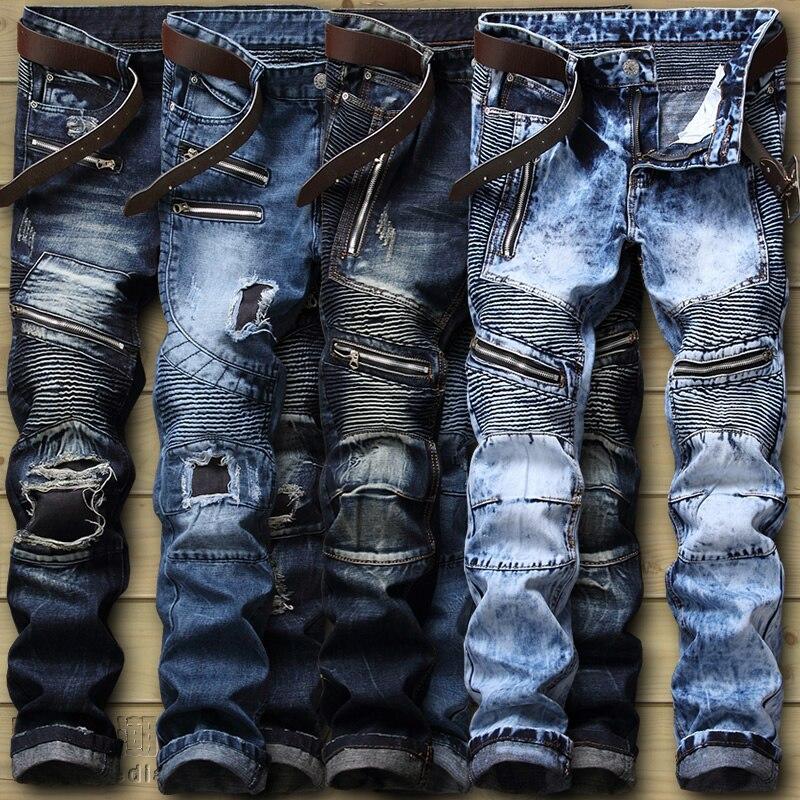 High Street Biker Jeans Men's Distressed Stretch Ripped Biker Jeans Men Hip Hop Slim Fit Holes Punk Denim Jeans Cotton Pants 2017 men jeans biker pleated mens denim ripped jeans hip hop straight stretch zipper distressed moto slim fit pleated punk pants