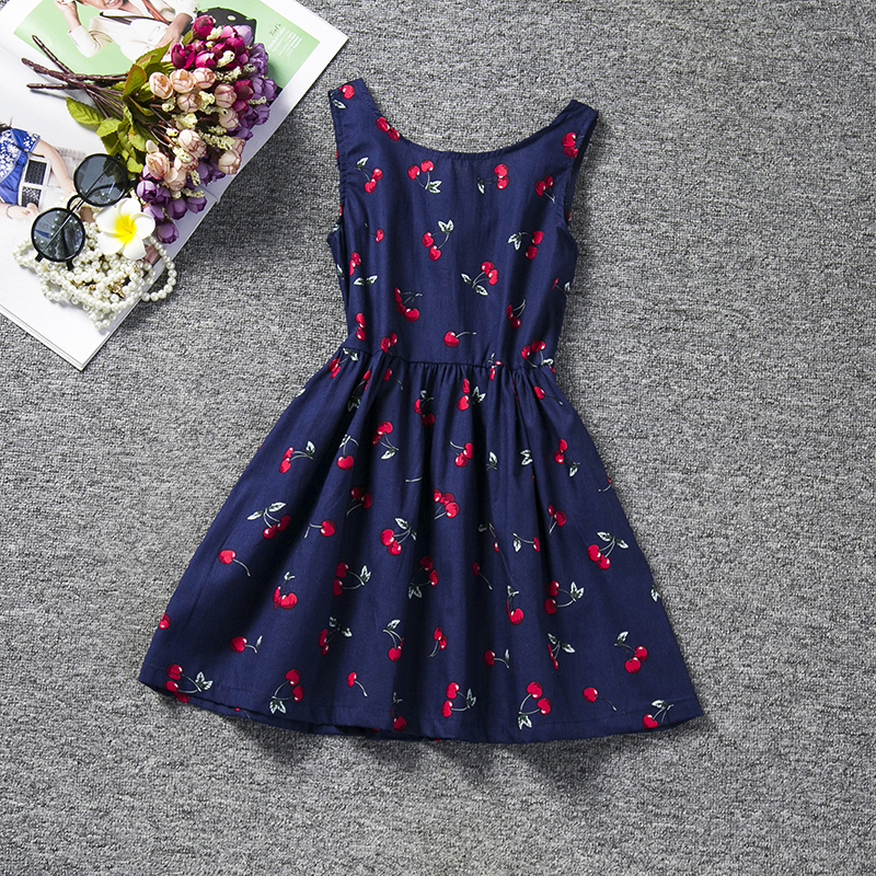 Summer Dress Clothing Cherry Printed Girl For Sweet Toddler Kids Casual Tutu High-Quality