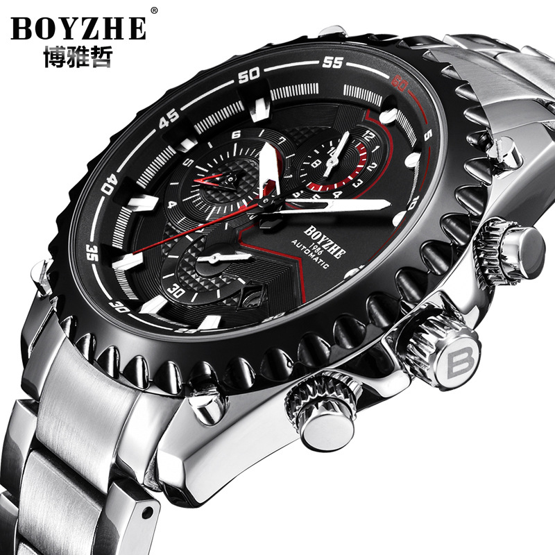 business man watches stainless steel calendar week waterproof BOYZHE brand mens wristwatches Automatic mechanical male clocks seiko shield no 5 business week calendar steel band automatic machine male watch snke01j1 snzf36j1 snzf35j1