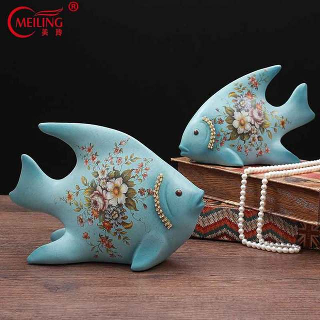 American Style 2PCS Ceramic Floral Fish Figurine For Home Decor Living Room Table Accessories Handcrafted Tropical Animal Statue