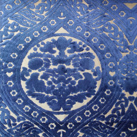 2016 Deluxe Dark Blue Damask Cut Velvet Design Sofa Chair Headboard Handbag Villas Hotel Home Decoration