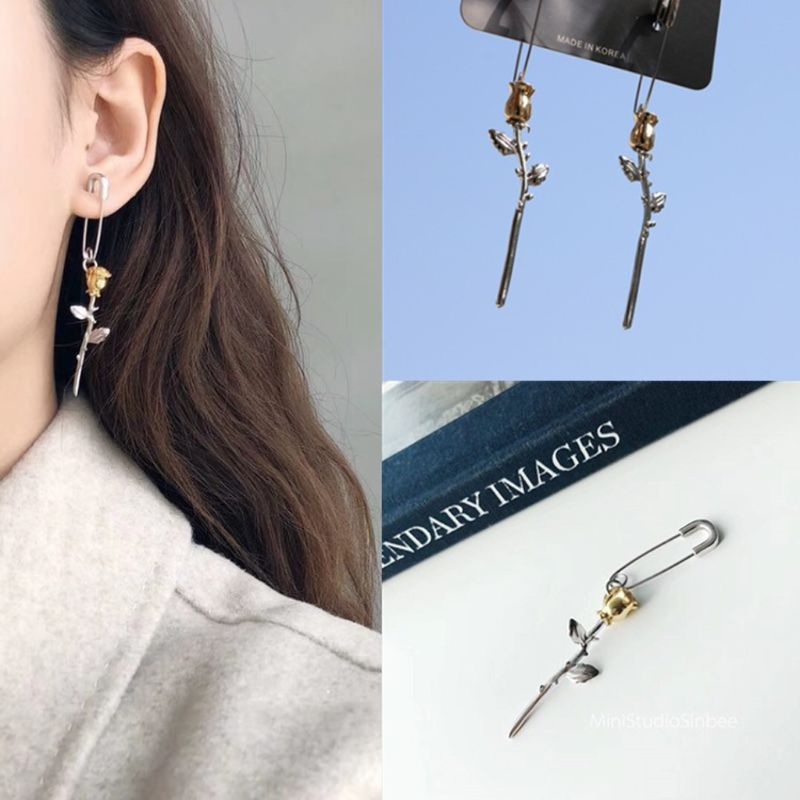 Gothic Surgical Steel Safety Pin Long Stud Earrings Ear Threader Fashion Jewelry in Stud Earrings from Jewelry Accessories