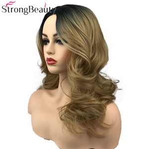 Image 4 - Strongbeauty 합성 가발 여성 가발 긴 물결 모양의 회색 가발 드래그 여왕가 발 hairpieces 여성을위한