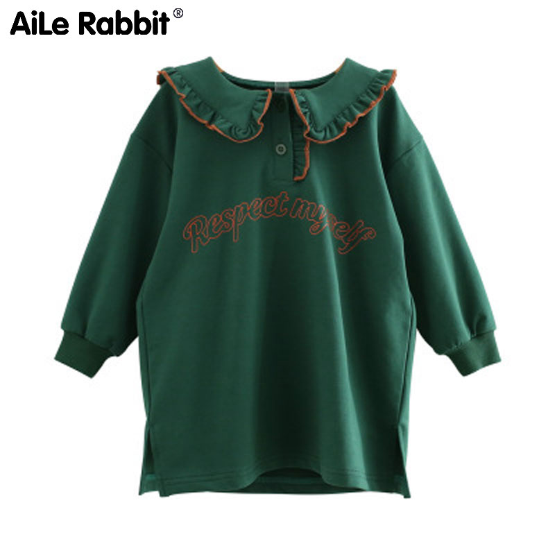T-Shirt College-Style Girls Autumn Long-Sleeved New Green Letter Rabbit Aile Dress 5b