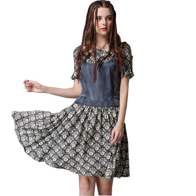 45b6c9e44 Jeans Patchwork Floral Dress Women 2018 Summer Dresses Casual Robe Vintage Vestidos  Playeros Cotton Mini Dress Womens Clothing