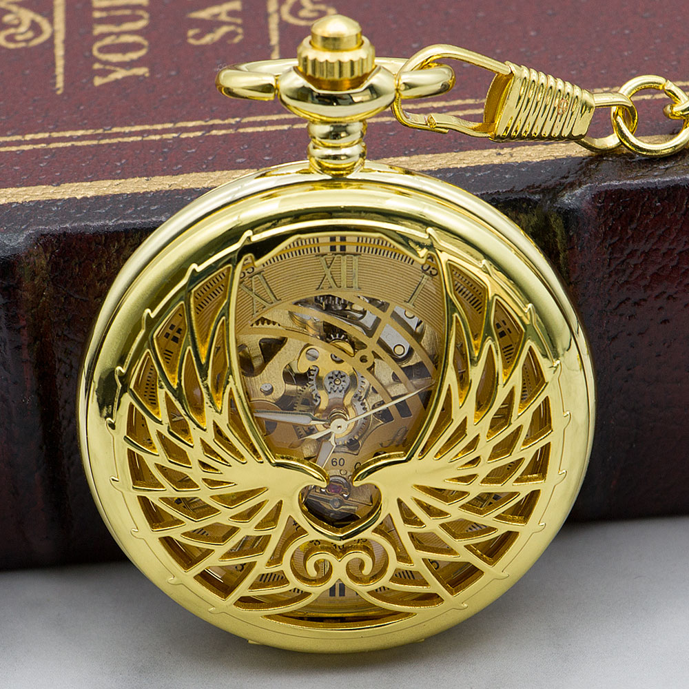 Retro Vintage Golden Angel Wing Men Women Pocket Watches Mechanical Watch  Carved Lid Skeleton Dial Pendant Chain PJX1326