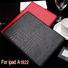 Computer Office - Tablet Accessories -  Case For IPad 9.7 Inch 2017 PU Crocodile Pattern Fabric Cover 360 Degree Protection Smart Case With Stent For Ipad A1822 A1823