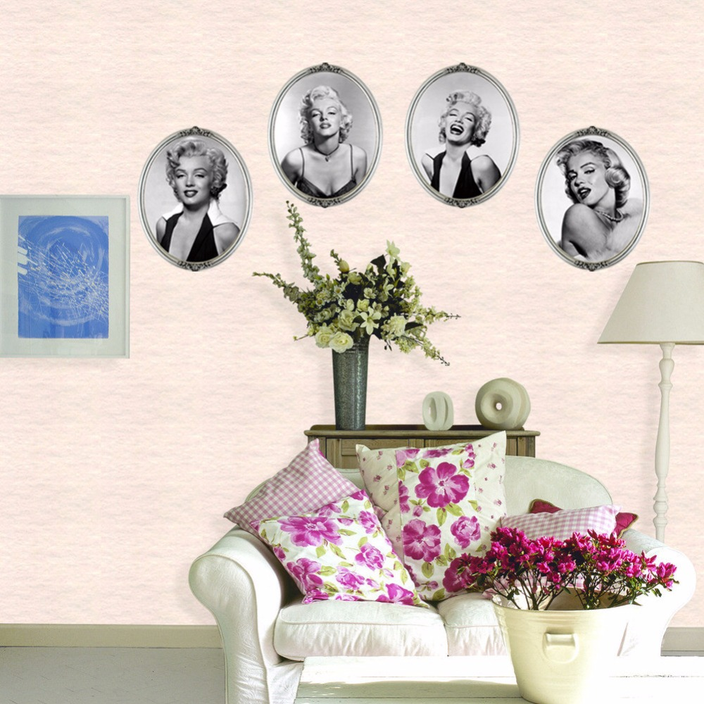 Marilyn monroe ornaments - New Creative Fashion 3d False Picture Frame Marilyn Monroe Four Picture Home Decoration Wall Stickers Living Room Sofa Wallpaper