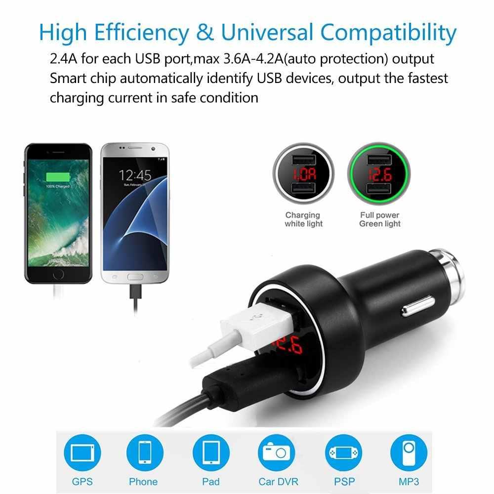 Cargador de coche rápido inteligente 5 V 3.6A adaptador de puerto USB Dual con pantalla LED/LCD batería de advertencia de bajo voltaje monitor para teléfono inteligente