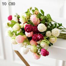 Yo cho 3 głowice oddział róża sztuczne kwiaty różowe białe jedwabne piwonie róże herbaciane długie małe sztuczne kwiaty ślubne dekoracje domowe na przyjęcie tanie tanio Ślub Artificial Roses Jedwabiu Bukiet kwiatów Bright Colors Make Lifelike Display Flower Silk Flower Decorative Flowers Wreaths Rose