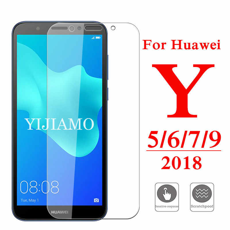 Película de vidro 2.5d para huawei y5 y6 y7 y9 prime 2018, protetor de tela huawey y 3 5 6 7 9 ii capa 9h película protetora