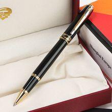 Papelería suministros de oficina de negocios de lujo cocodrilo 320 bolígrafos negros con logotipo dorado elegante escritura marca de regalo bolígrafos