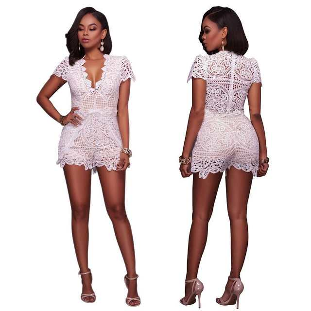 3e1a2397541 placeholder Short Lace Jumpsuits Sexy V-neck Solid High Waist Hollow Out  Club Wear Playsuits Rompers