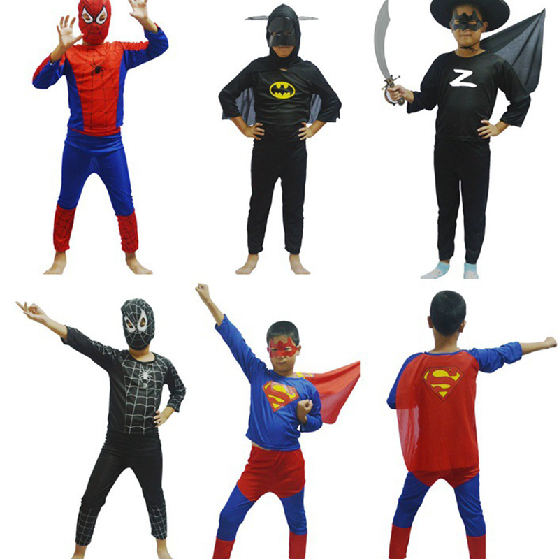 Children'S Cosplay Superhero Role Playing Costume Halloween Party Superman Red Spider-Man Black Spider-Man Superman Zorro Batman