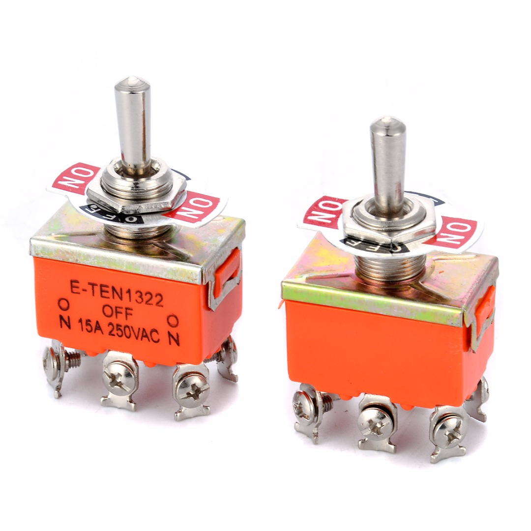 2pcs R-1322 Metal Resin DPDT Switch AC 250V 15A ON/OFF/ON 3 Position Toggle Switches 6 Screw Terminals For Switching Lights