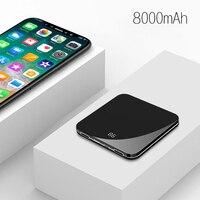 Minibatería portátil de 8000mAh  batería externa ultradelgada de polímero  batería portátil con espejo LCD  Banco de energía de batería de pantalla  Cargador rápido para teléfono móvil