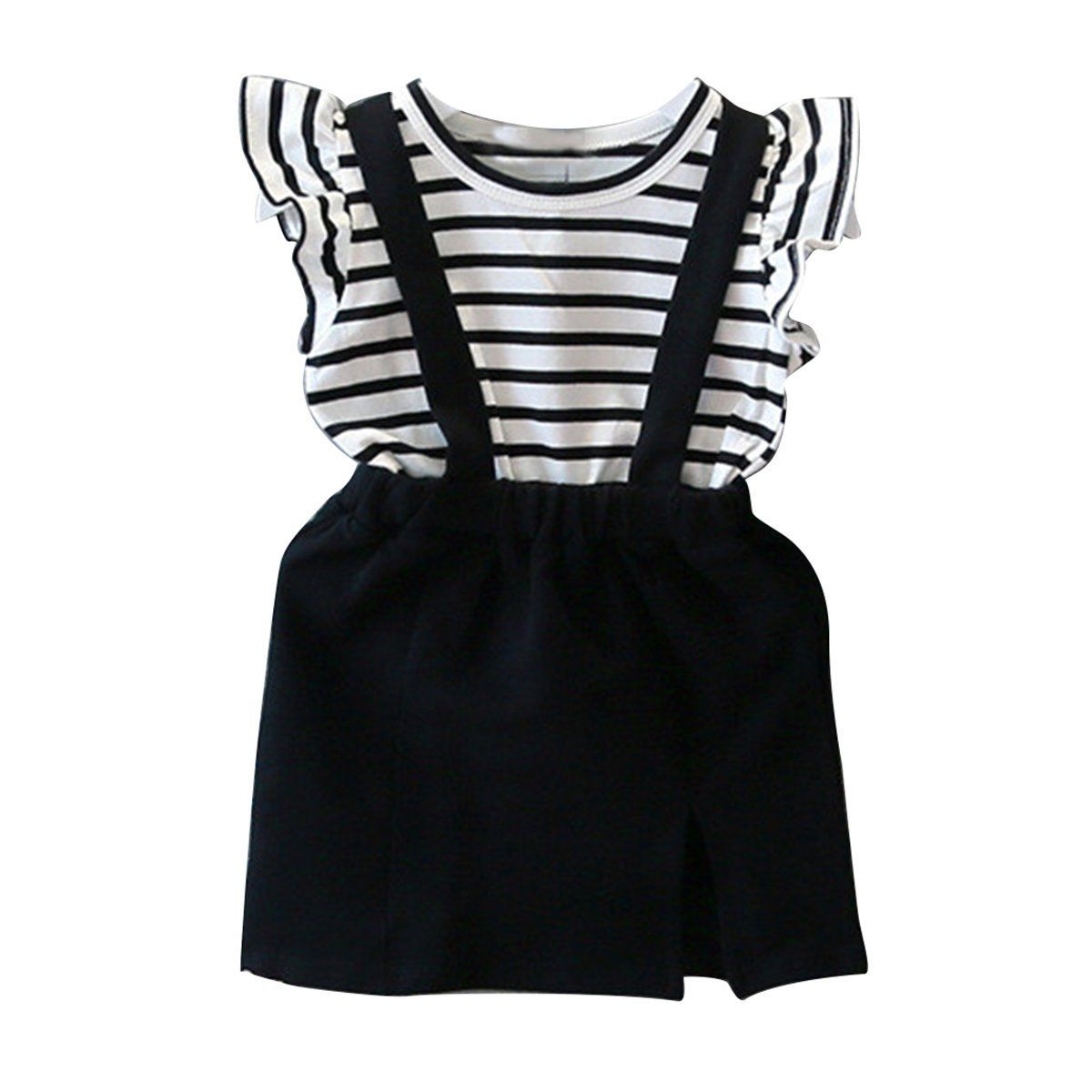 Toddler Kids Baby Girls Summer Outfits Clothes Stripe T Shirt Tops strap Dress 2PCS Set Kid Baby Princess Girls Clothes Set 2-7T baby set girls stripe i woke up like this toddler shirt pants 2pcs outfits set