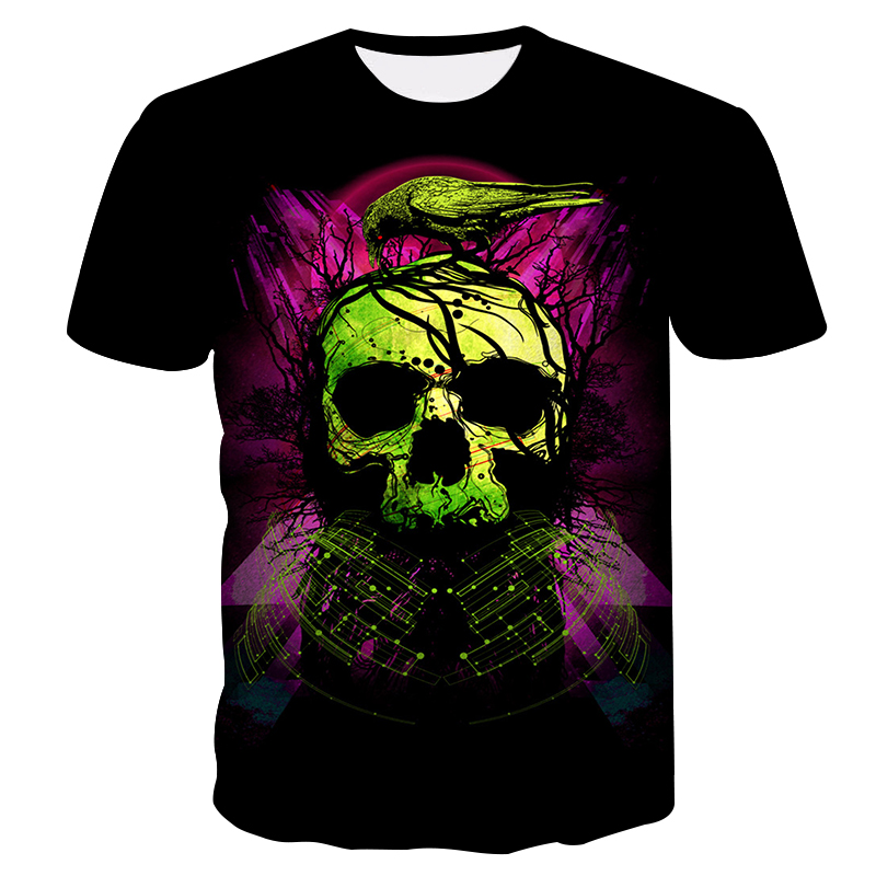Men's T-Shirt 3D Fashion Popular Design Crow and Skull Men's Casual Short sleeve Tops 2018 high quality unisex O-Neck T-shirt