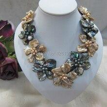 Ожерелье с подвеской в виде цветка цвета шампанского и черного жемчуга