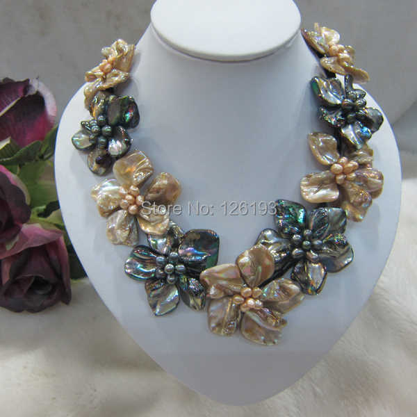 Champagne and black pearl mother of shell weave flower pendant necklace