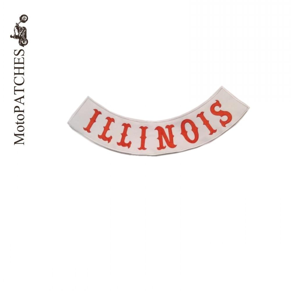 ILLINOIS Custom Bottom Rocker Red Font Embroidery Twill Biker Sewing ...