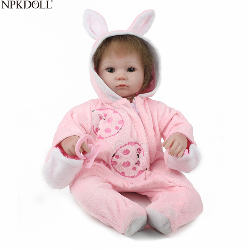 NPKDOLL Baby Alive Doll Silicone Reborn 16 Inch Doll New Born Baby Girl Clothing Handmade Toys For Children Stuffed Toy Kids
