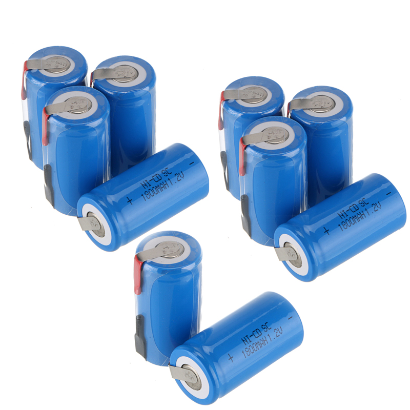 10pcs 22*42mm Sub C SC Rechargeable Battery 1.2V 1800mAh NI-CD Batteries With PCB For Electronic Tools 2016 popular blue color 8 pcs a set ni cd 4 5 subc sub c 1 2v 2200mah rechargeable battery with tab blue