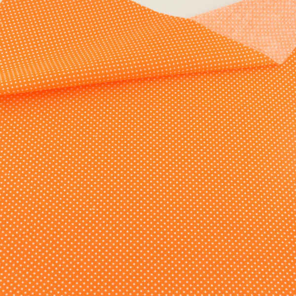 White Dot Design Orange Cotton Fabric Printed Patchwork Sewing Bed Sheet Crafts Dolls Clothes Fat Quarter Art Work Meter Fabric