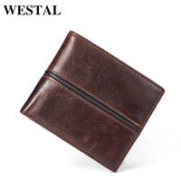 WESTAL Genuine Cowhide Leather Men Wallet Short Coin Purse Small Vintage Wallet Brand High Quality Designer