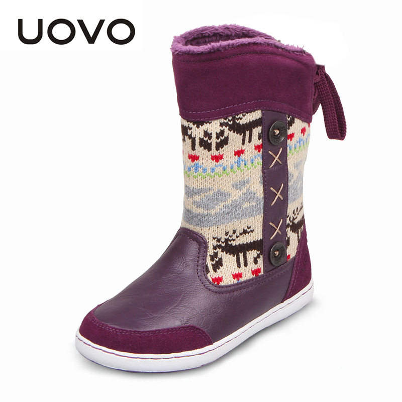 UOVO Mid-calf Snow Girls Boots Nonslip Plush Knitting Yarn Children Boots Kids Boots Winter Shoes Girls Christmas Boots 8 Colors uovo children winter shoes kids fox fur walking shoes girls snow shoes mid cut footwear for kids winter hiking boots for girls