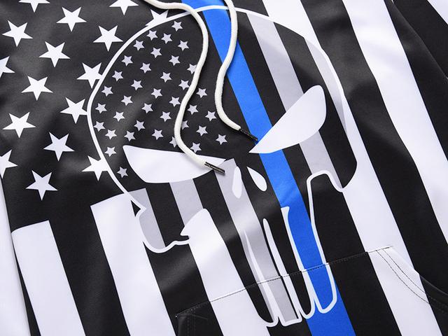 3D AMERICAN SKULL FLAG HOODIE