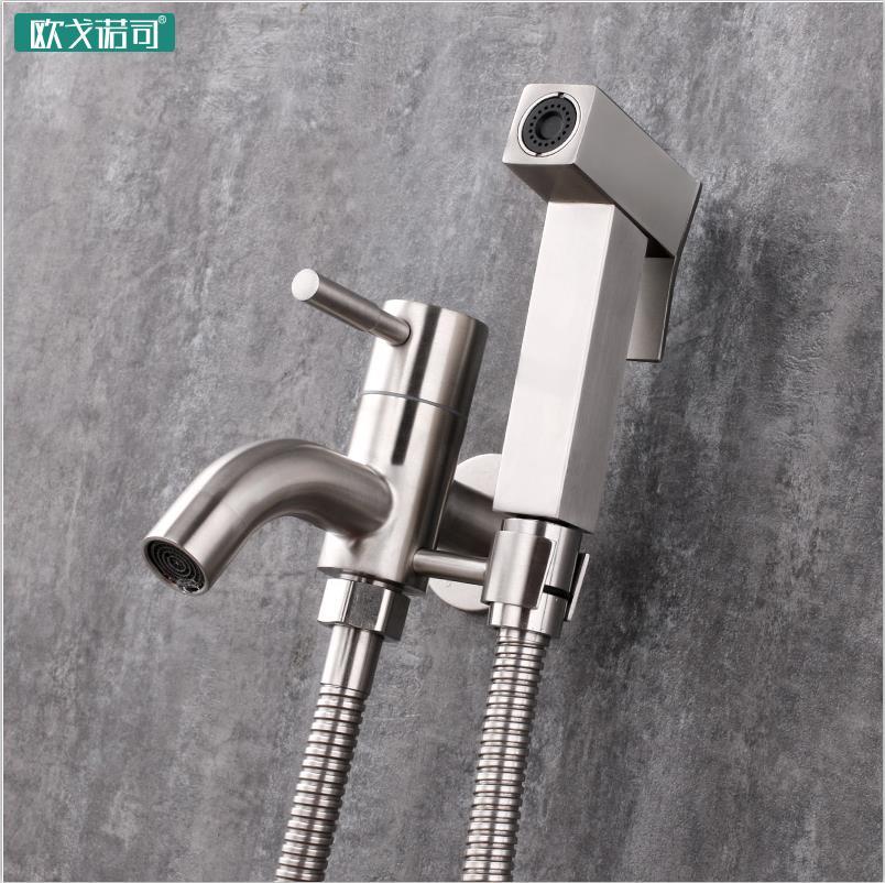 Robinet de toilette mural bidet pulvérisateur robinet a support flexible tuyau 304 acier inoxydable