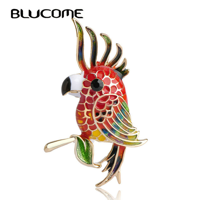 a87de4438931 Blucome Noble Bird Empress Brooch Colorful Enamel Gold-color Women Brooches  For Party Bag Ladies Branch Birds Pins Corsage Clips