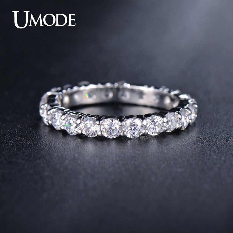 UMODE New White Gold Color 3mm 0.1 Carat Round CZ Crystal Wedding Eternity Rings Bands For Women Jewelry Anel Hot Gifts AUR0279