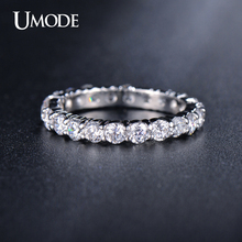 UMODE Newest White Gold Plated 3mm 0.1 Carat Round CZ Simulated Diamond Wedding Eternity Ring Bands For Women Jewelry AUR0279