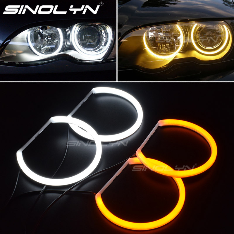 Switchback LED Angel Eye Halo Rings w// Acrylic Cover For BMW 3 Series Headlights