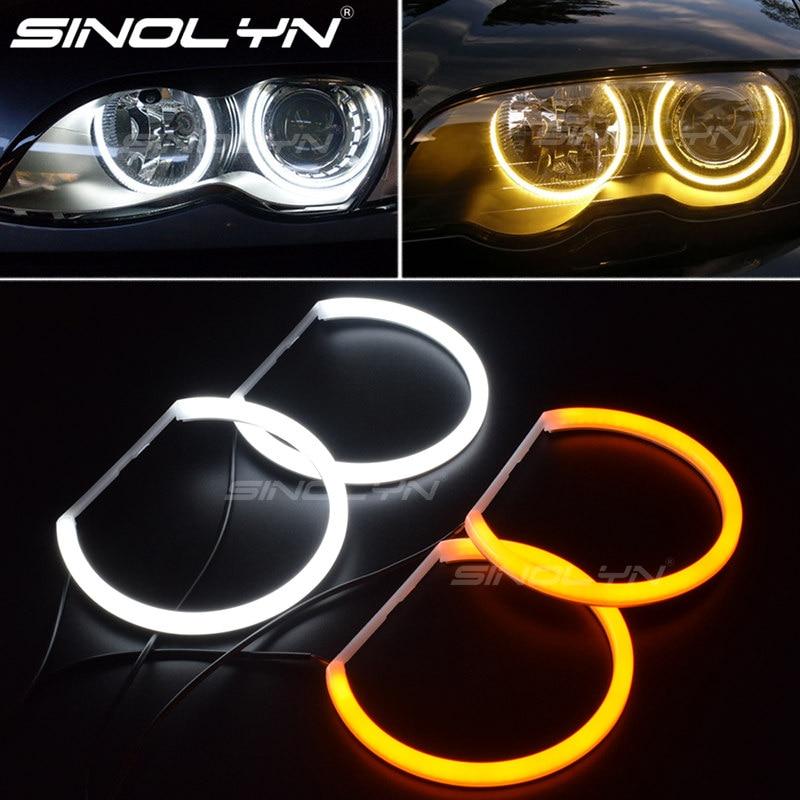 Switchback coton lumière Halo anneaux DRL LED ange yeux Kit pour BMW 3 5 7 série E46/E39/E38/E36 voitures phare modification 131/146mm
