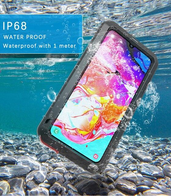 สำหรับSamsung Galaxy A70กรณีกันกระแทกกันกระแทกเกราะโลหะฝาครอบสำหรับSamsung A70กันน้ำ
