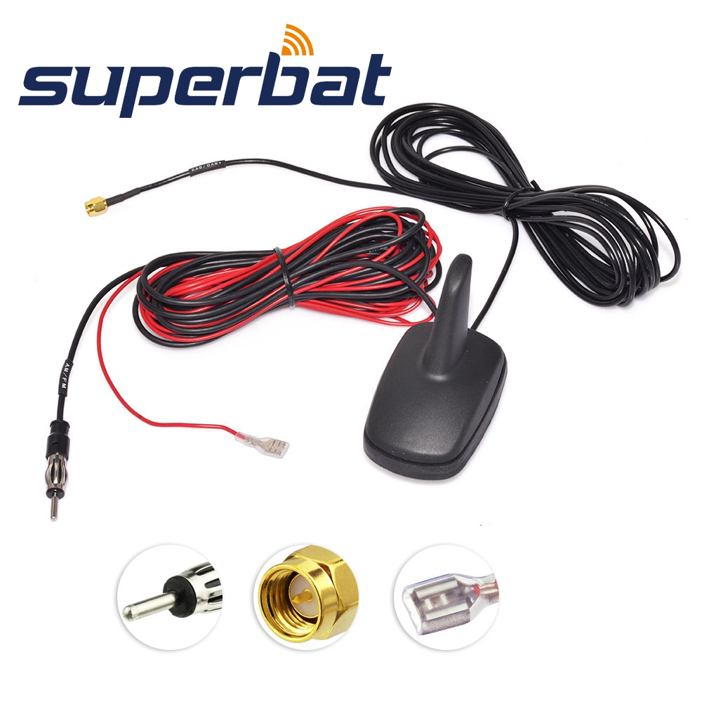 Superbat DAB/DAB+/FM/AM Car Digital Radio Aerial Roof Mount Antenna With Amplified SMA Male Plug Connector