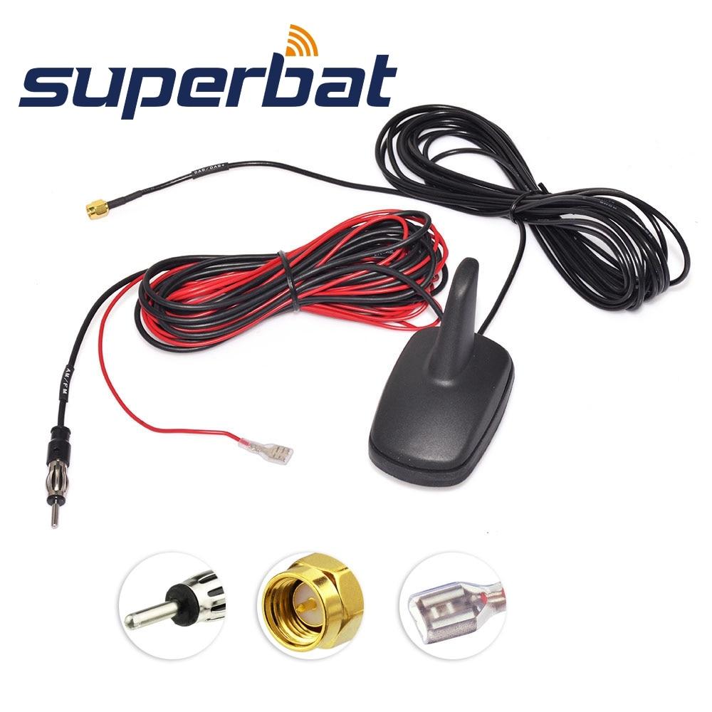 Superbat DAB/DAB+/FM/AM Car Digital Radio Aerial Roof Mount Antenna with Amplified SMA Connector
