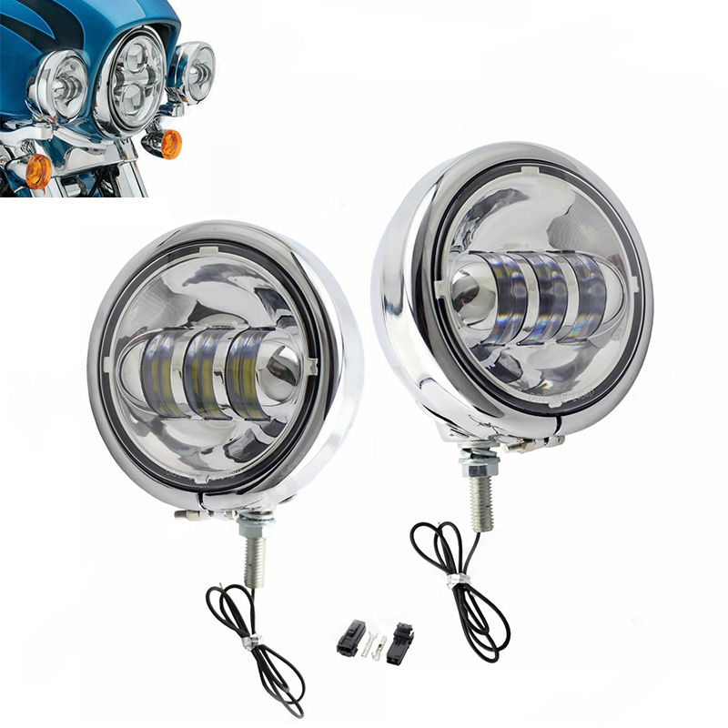 Chrome Pair 4.5 4-1/2 4.5inch LED fog light for Motorcycle Harley Led headlight with sheel of 4.5inch harley bracket fog light harley motorcycle 7 inch orange motorcycle headlight 4 5 fog daymaker hid led light bulb headlight for harley davidson