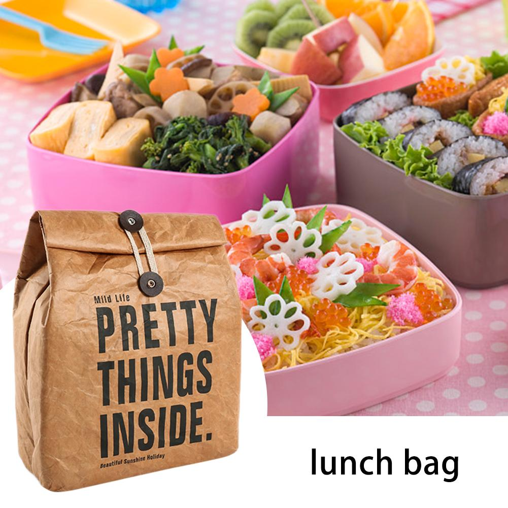 Cooler Lunch Box Bag Insulated Tyvek Brown Kraft Paper Durable Reusable Handy Bag Thermal Bento Leakproof Picnic Tote|Bags & Baskets| |  - title=