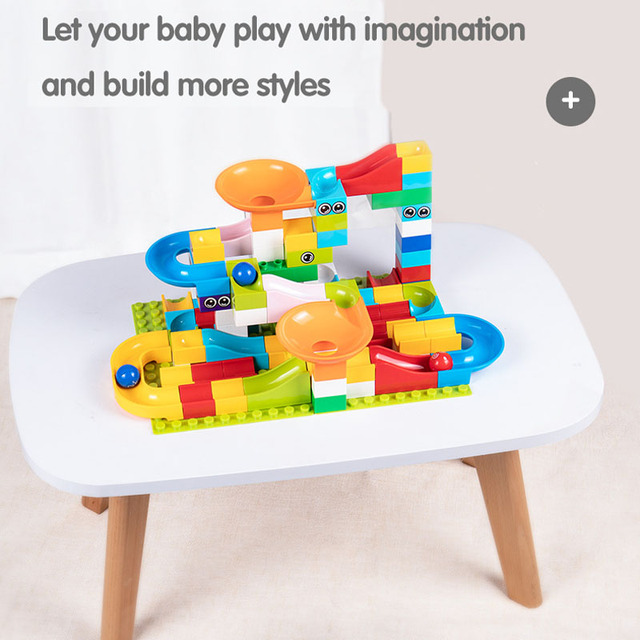 Kitoz Big Size Marble Race Run Maze Ball Track Funnel Slide Building Block Brick Educational Toy Compatible with Lego Duplo 2