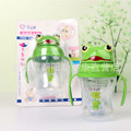 2017 New 240ml Lovely Frog Baby Cups Kid Water Bottle Handle Children Learn Drinking Straw Bottle Sippy Training Cup 2 Color