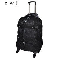 Large capacity camouflage business luggage Caster duffle bag travel trolley backpack