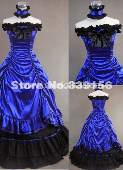 Brand New Elegant Blue Off The Shoulder Vintage Victorian Dresses Women's Victorian Ball Gowns For Party