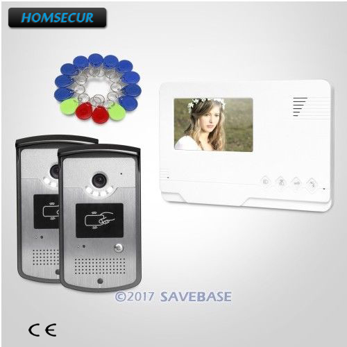 цена на HOMSECUR 4.3inch Video Door Entry Call System With Intra-monitor Audio Interaction Electric Lock Supported for Home Security