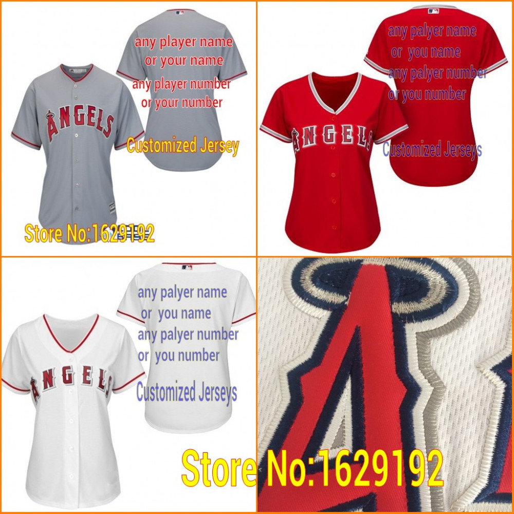 ... Authentic Personalized any Name Number Alternate Girls Baseball Jerseys  Majestic Los Angeles Angels of Anaheim Womens Cool Base Replica Alternate  Road ... a2bfe6f56